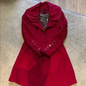 Express red, leopard print lined coat